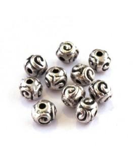Perle intercalaire ronde en métal argent vieilli x10