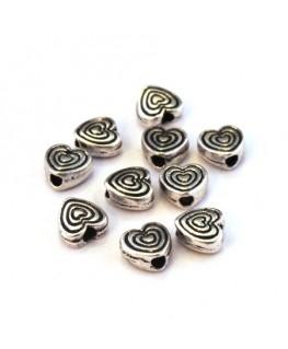 Perle intercalaire coeur en métal argent vieilli x10