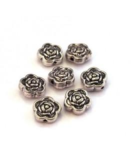 Perle fleur rose métal argent vieilli x10