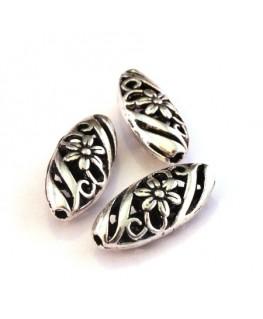 Perle métal ovale 23mm argent vieilli