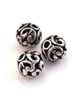 Perle métal ronde 11mm argent vieilli