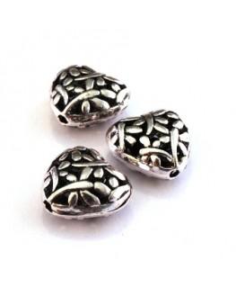 Perle métal coeur 15mm argent vieilli