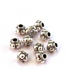 Perles métal striées argent vieilli 4mm x10