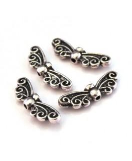 Perles ailes en métal argent vieilli
