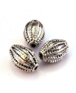 Perle métal olive argent vieilli 13mm
