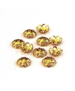 Perles calottes filigranées 5mm doré