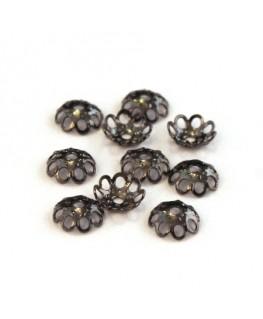 Perles calottes filigranées 5mm gunmetal