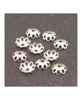 Perles calottes filigranées 5mm argentées