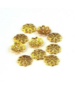 Calottes filigranées 7mm dorées x50