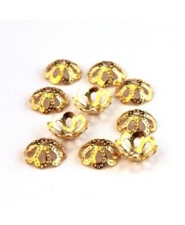 Calottes filigranées 8mm dorées