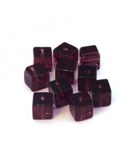 Perles cubes en verre light amethyst 6mm