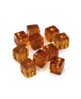 Perles cubes en verre smoked topaz 6mm