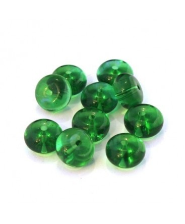 Perles rondelles en verre vert émeraude