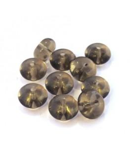 Perles rondelles en verre gris 10mm