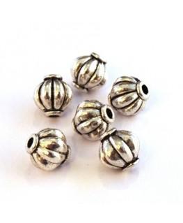 Perles métal strié 8mm argent vieilli