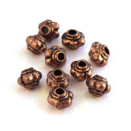 Perles métal striées 4mm cuivre x10