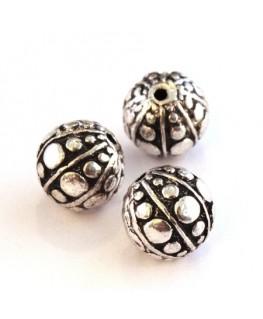Perle métal ronde 10mm argent vieilli