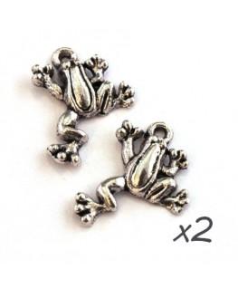 Breloques grenouille argent vieilli