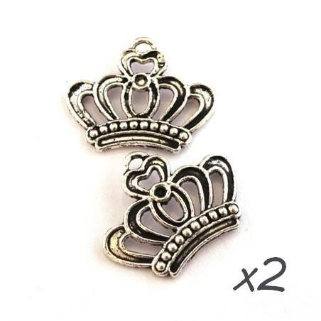 Breloques couronne argent vieilli