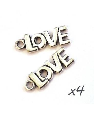 Breloque love argent vieilli  x4
