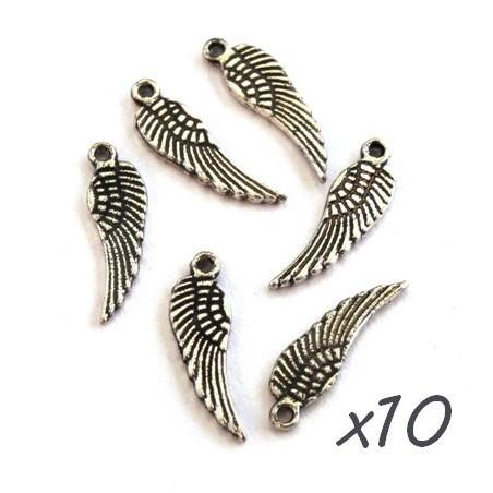 Breloques aile argent vieilli 17mm