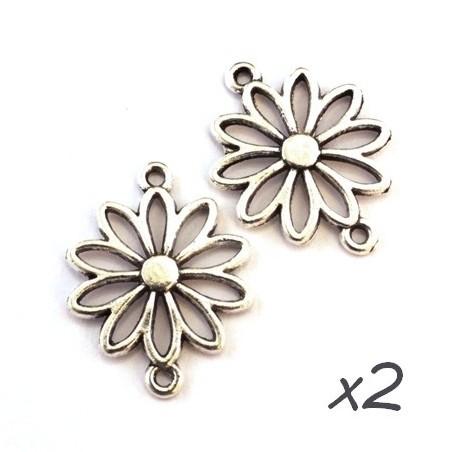 Breloque connecteur fleur argent x2