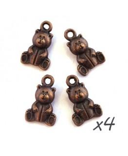 Breloques ours en peluche cuivre