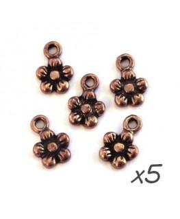 Breloques fleur cuivre 11mm