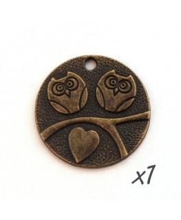 Breloque hibou chouette coeur bronze