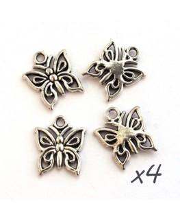 Breloque papillon argent vieilli