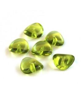 Perles pagode rondelle verre vert olivine