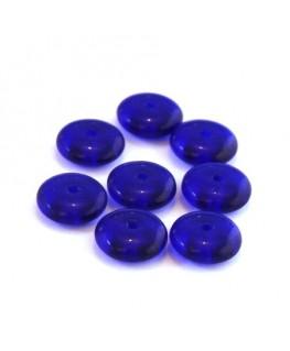 Perles rondelles en verre 8mm bleu foncé