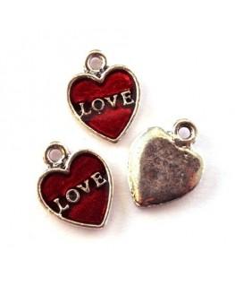 Breloque émaillée coeur love rouge