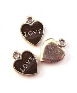 Breloque émaillée coeur love marron