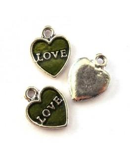Breloque émaillée coeur love olivine
