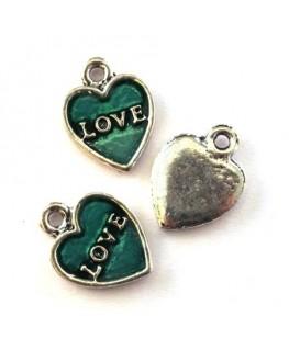 Breloque émaillée coeur love jade