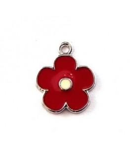 Breloque émaillée fleur rouge