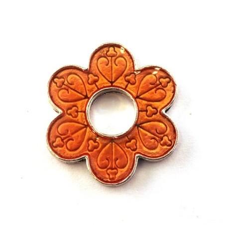 Perle anneau fleur émaillé orange