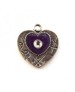 Breloque émaillée coeur violet