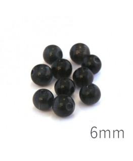 Perle oeil de chat 6mm noir x10