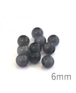 Perle oeil de chat 6mm gris x10