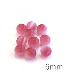 Perle oeil de chat 6mm rose x10