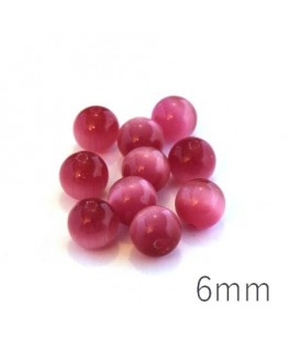 Perle oeil de chat 6mm fuchsia x10