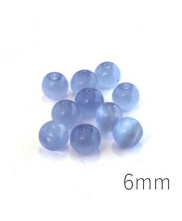 Perle oeil de chat 6mm bleuet x10
