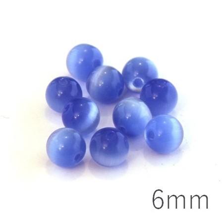 Perle oeil de chat 6mm bleu clair x10