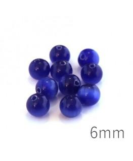 Perle oeil de chat 6mm bleu foncé x10