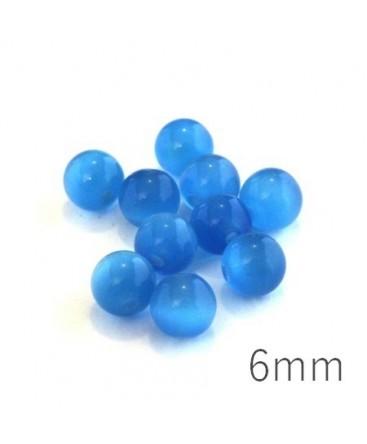 Perle oeil de chat 6mm bleu capri x10