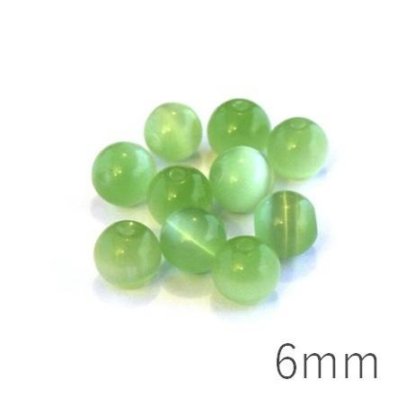 Perle oeil de chat 6mm vert chrysolite x10