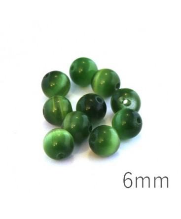 Perle oeil de chat 6mm vert foncé x10