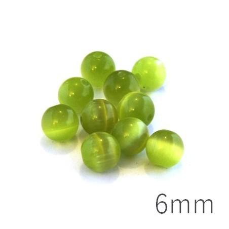 Perle oeil de chat 6mm vert pomme x10